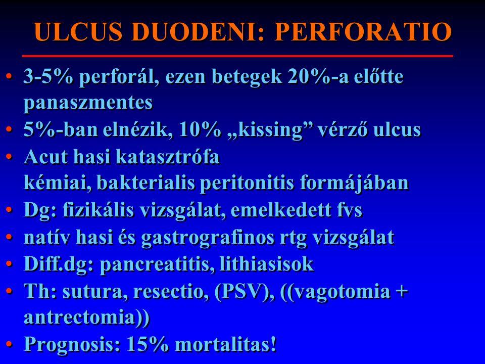 """ULCUS DUODENI: PERFORATIO 3-5% perforál, ezen betegek 20%-a előtte panaszmentes 5%-ban elnézik, 10% """"kissing"""" vérző ulcus Acut hasi katasztrófa kémiai"""