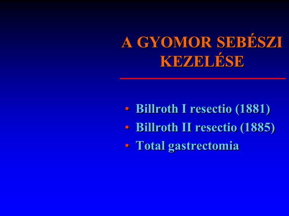 A GYOMOR SEBÉSZI KEZELÉSE Billroth I resectio (1881) Billroth II resectio (1885) Total gastrectomia Billroth I resectio (1881) Billroth II resectio (1