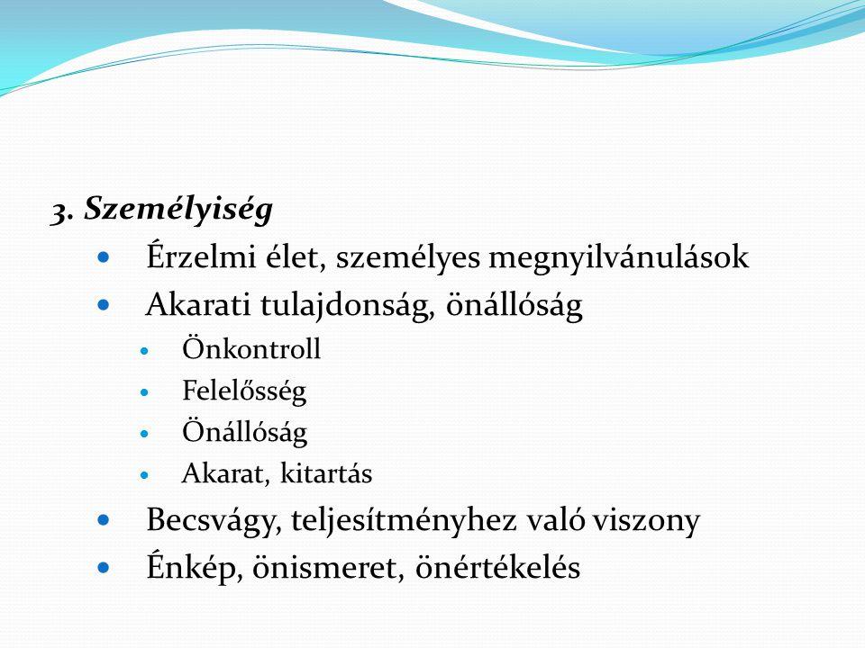 3. Személyiség Érzelmi élet, személyes megnyilvánulások Akarati tulajdonság, önállóság Önkontroll Felelősség Önállóság Akarat, kitartás Becsvágy, telj