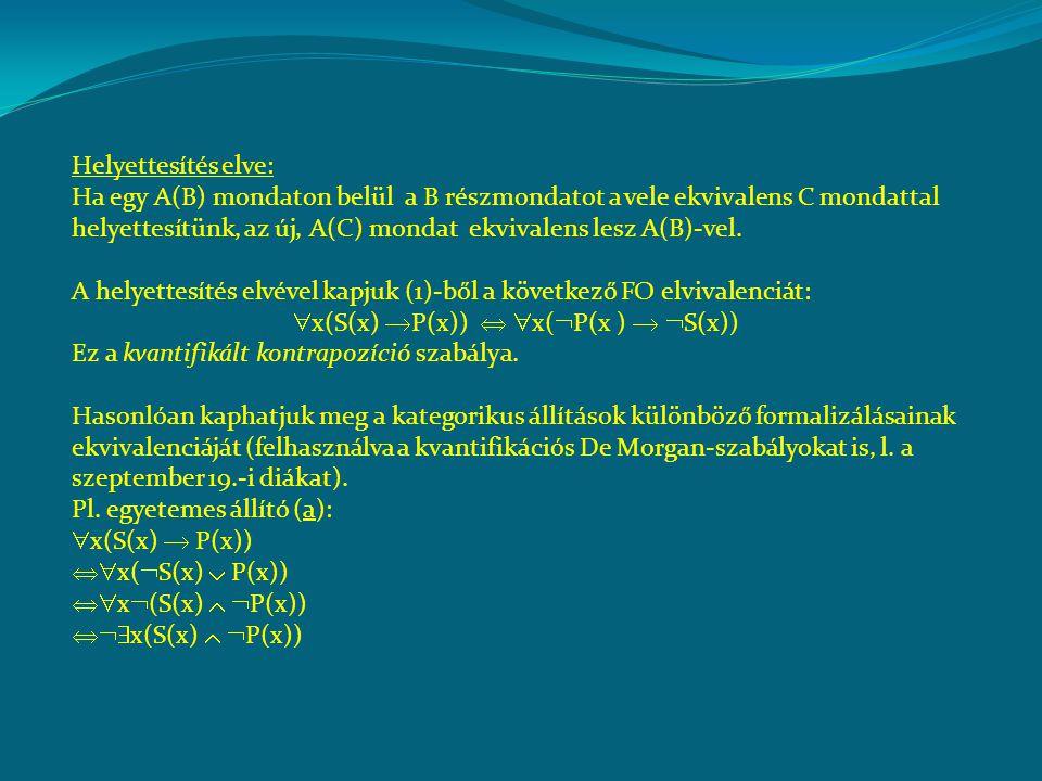 Helyettesítés elve: Ha egy A(B) mondaton belül a B részmondatot a vele ekvivalens C mondattal helyettesítünk, az új, A(C) mondat ekvivalens lesz A(B)-vel.