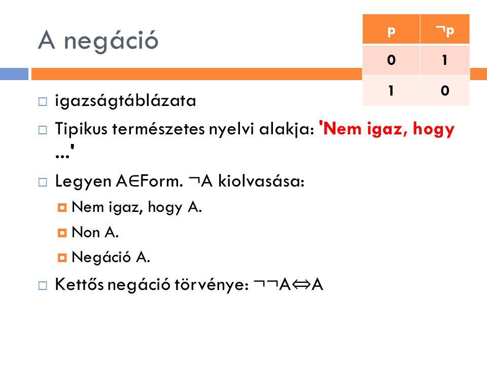 A negáció  igazságtáblázata  Tipikus természetes nyelvi alakja: 'Nem igaz, hogy...'  Legyen A ∈ Form. ¬A kiolvasása:  Nem igaz, hogy A.  Non A. 