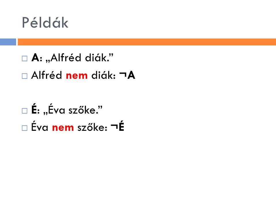 """Példák  A: """"Alfréd diák.""""  Alfréd nem diák: ¬A  É: """"Éva szőke.""""  Éva nem szőke: ¬É"""