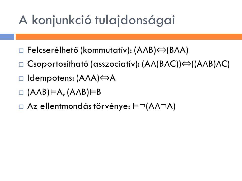A konjunkció tulajdonságai  Felcserélhető (kommutatív): (A ∧ B) ⇔ (B ∧ A)  Csoportosítható (asszociatív): (A ∧ (B ∧ C)) ⇔ ((A ∧ B) ∧ C)  Idempotens