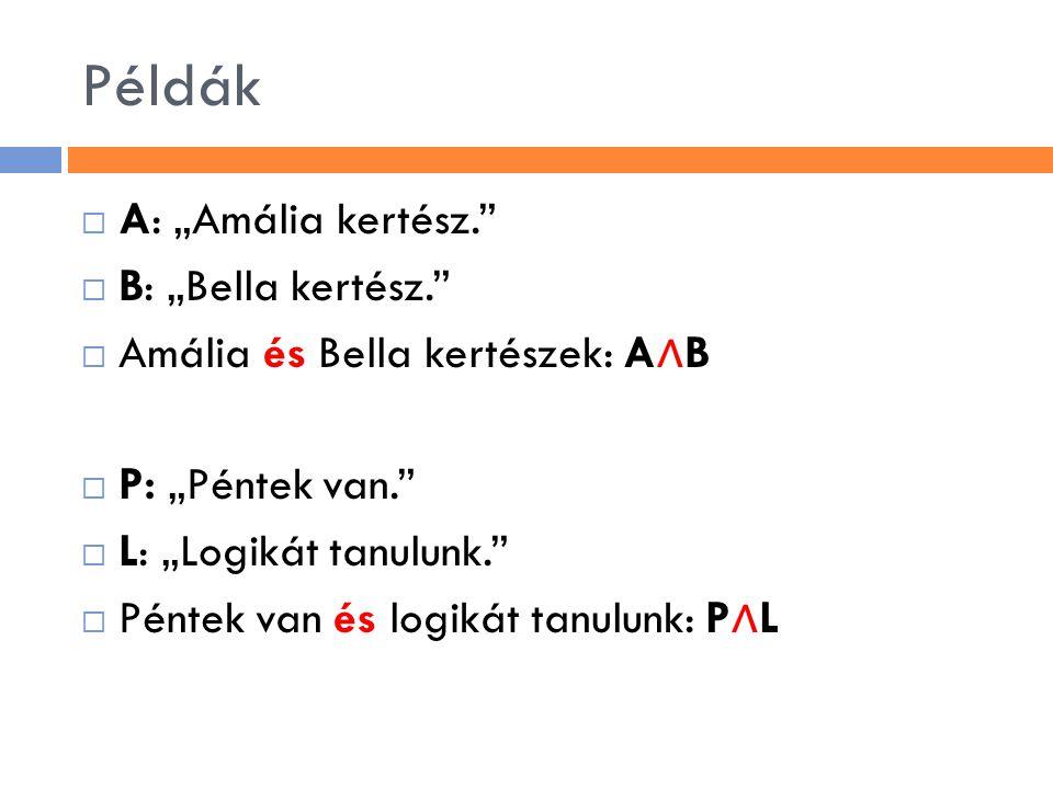 """Példák  A: """"Amália kertész.""""  B: """"Bella kertész.""""  Amália és Bella kertészek: A ∧ B  P: """"Péntek van.""""  L: """"Logikát tanulunk.""""  Péntek van és log"""