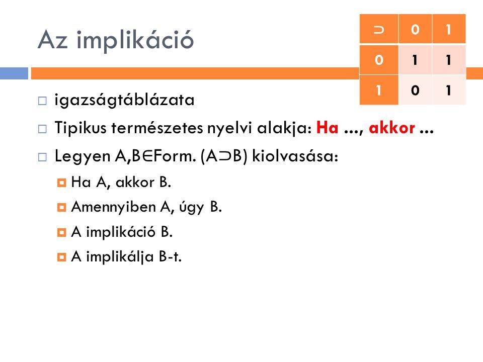 Az implikáció  igazságtáblázata  Tipikus természetes nyelvi alakja: Ha..., akkor...  Legyen A,B ∈ Form. (A ⊃ B) kiolvasása:  Ha A, akkor B.  Amen