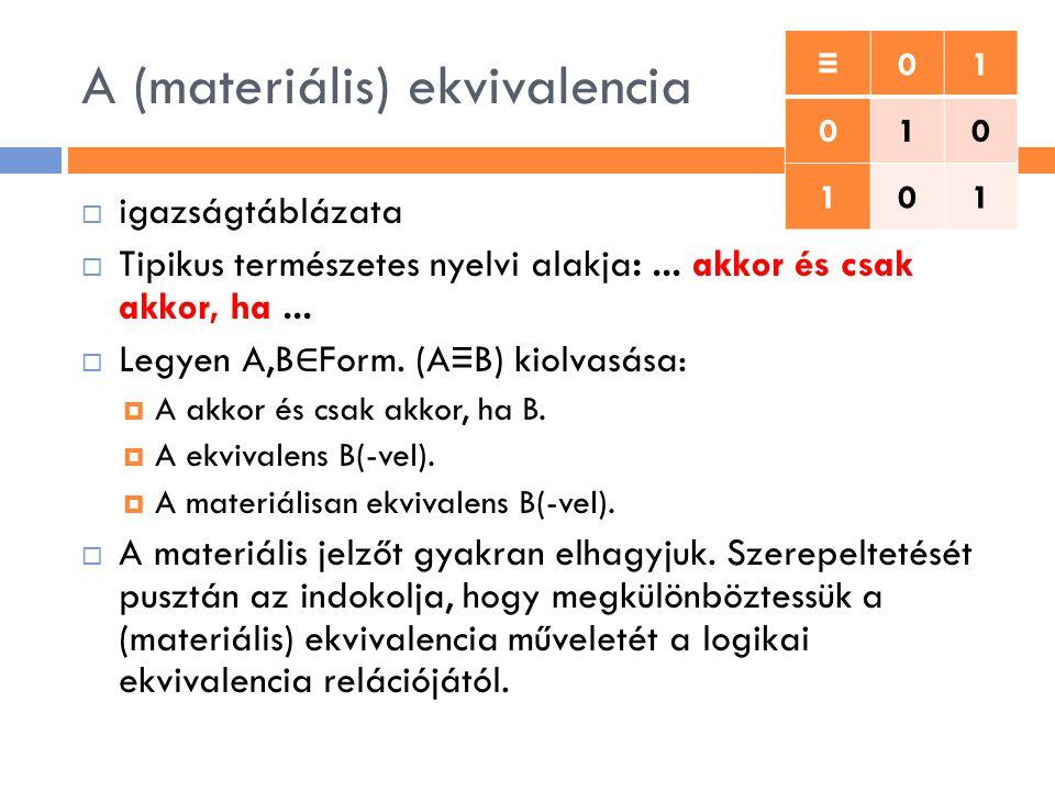 A (materiális) ekvivalencia  igazságtáblázata  Tipikus természetes nyelvi alakja:... akkor és csak akkor, ha...  Legyen A,B ∈ Form. (A ≡ B) kiolvas