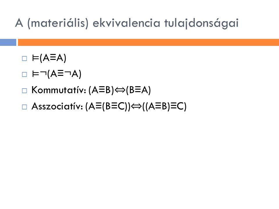 A (materiális) ekvivalencia tulajdonságai  ⊨ (A ≡ A)  ⊨ ¬(A ≡ ¬A)  Kommutatív: (A ≡ B) ⇔ (B ≡ A)  Asszociatív: (A ≡ (B ≡ C)) ⇔ ((A ≡ B) ≡ C)