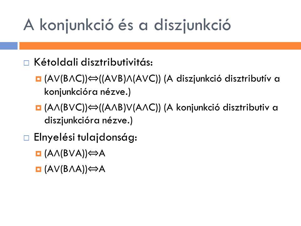 A konjunkció és a diszjunkció  Kétoldali disztributivitás:  (A ∨ (B ∧ C)) ⇔ ((A ∨ B) ∧ (A ∨ C)) (A diszjunkció disztributív a konjunkcióra nézve.) 