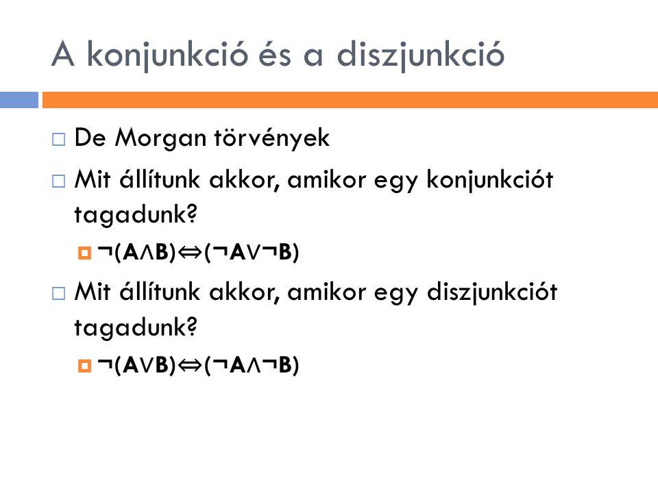 A konjunkció és a diszjunkció  De Morgan törvények  Mit állítunk akkor, amikor egy konjunkciót tagadunk?  ¬(A ∧ B) ⇔ (¬A ∨ ¬B)  Mit állítunk akkor