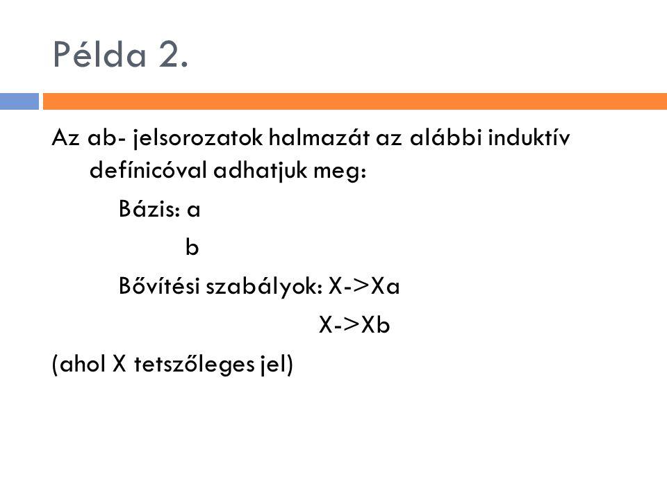 Példa 2. Az ab- jelsorozatok halmazát az alábbi induktív defínicóval adhatjuk meg: Bázis: a b Bővítési szabályok: X->Xa X->Xb (ahol X tetszőleges jel)