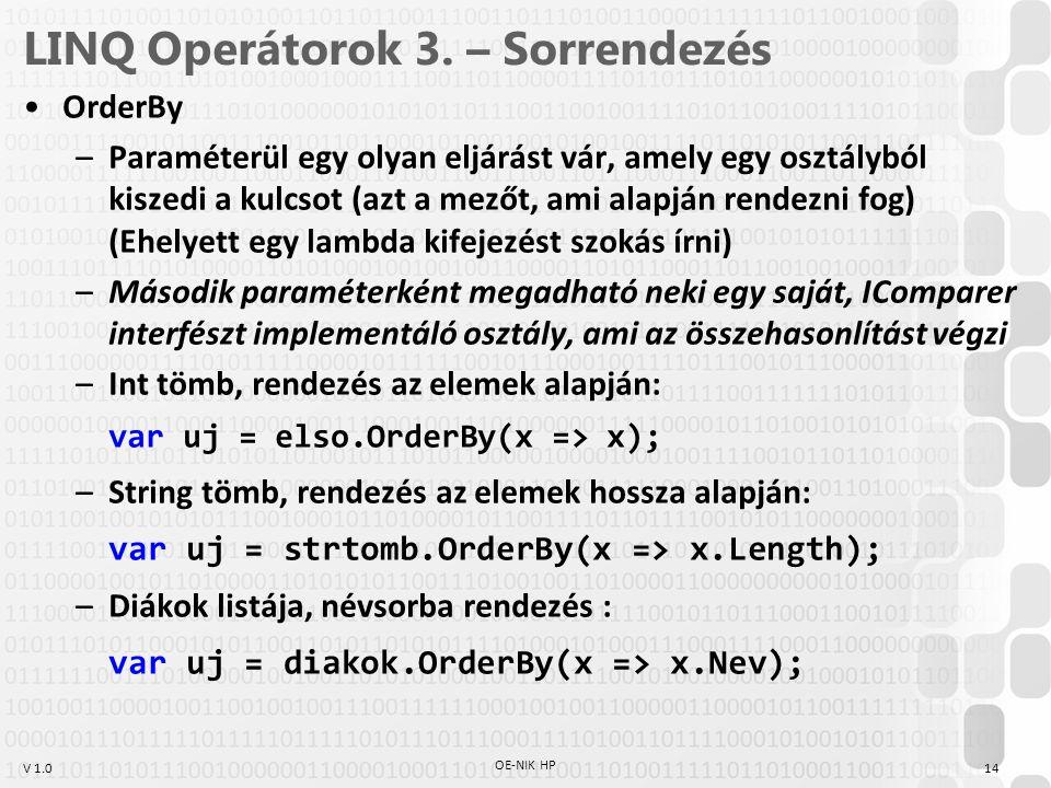 V 1.0 LINQ Operátorok 3.