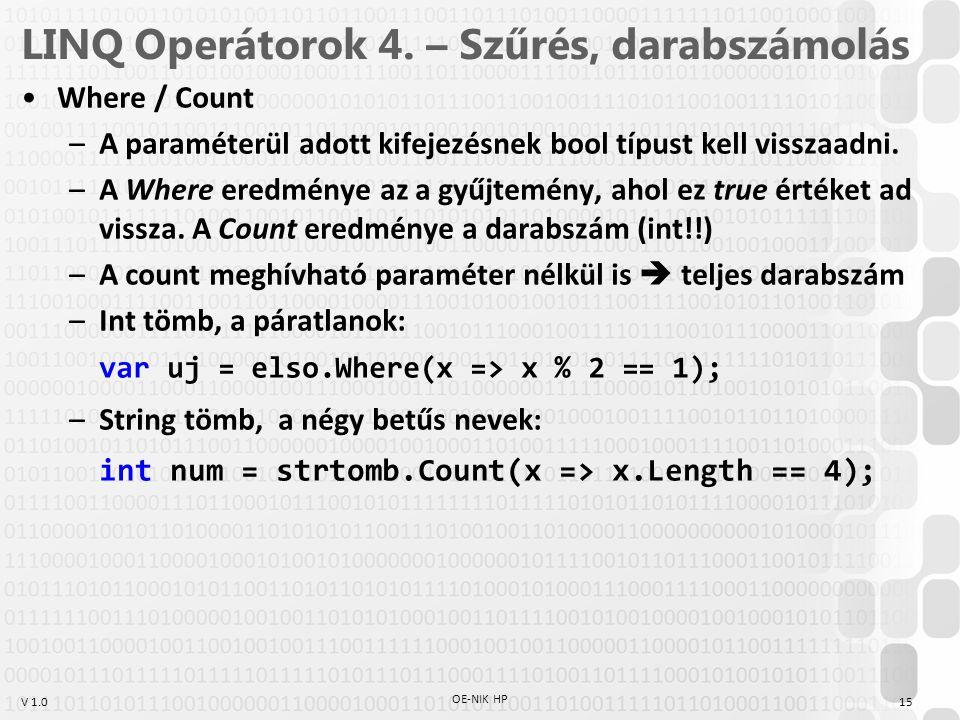 V 1.0 LINQ Operátorok 4.