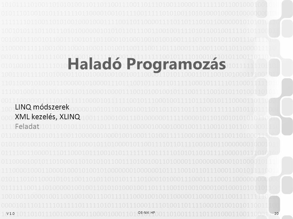 V 1.0 OE-NIK HP 20 Haladó Programozás LINQ módszerek XML kezelés, XLINQ Feladat