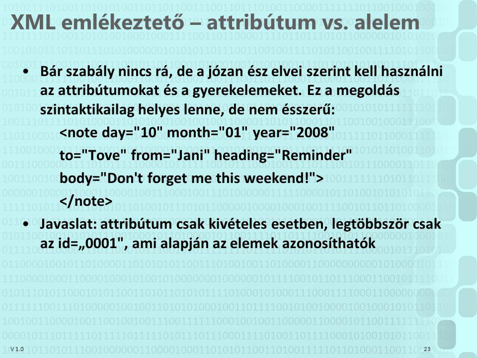 V 1.0 XML emlékeztető – attribútum vs. alelem Bár szabály nincs rá, de a józan ész elvei szerint kell használni az attribútumokat és a gyerekelemeket.