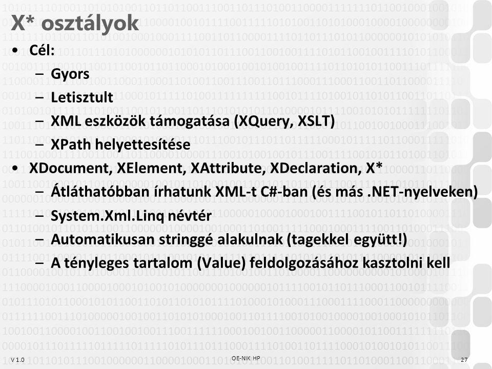 V 1.0 X* osztályok Cél: –Gyors –Letisztult –XML eszközök támogatása (XQuery, XSLT) –XPath helyettesítése XDocument, XElement, XAttribute, XDeclaration