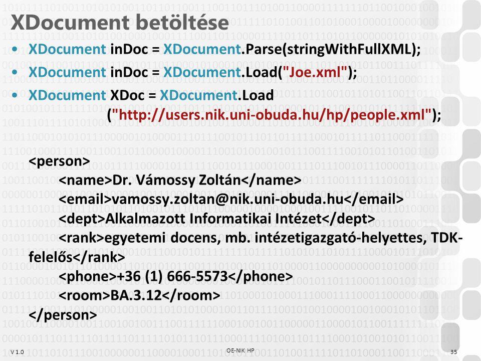 V 1.0 XDocument betöltése XDocument inDoc = XDocument.Parse(stringWithFullXML); XDocument inDoc = XDocument.Load( Joe.xml ); XDocument XDoc = XDocument.Load ( http://users.nik.uni-obuda.hu/hp/people.xml ); Dr.