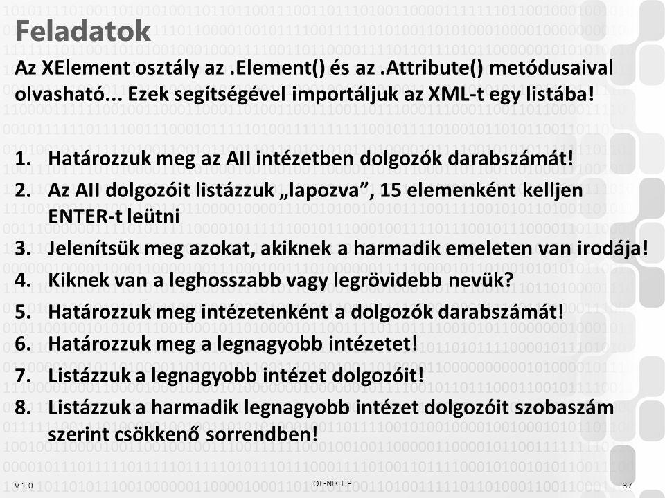 V 1.0 Feladatok Az XElement osztály az.Element() és az.Attribute() metódusaival olvasható... Ezek segítségével importáljuk az XML-t egy listába! 1.Hat