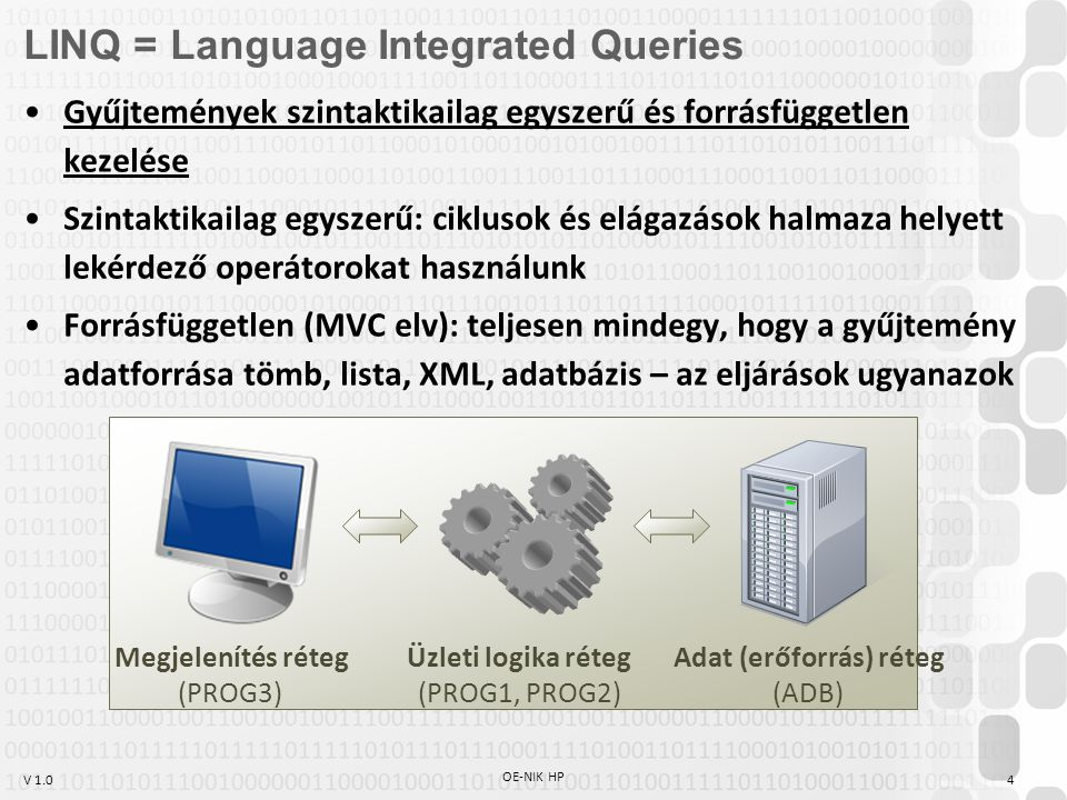 V 1.0 OE-NIK HP 4 LINQ = Language Integrated Queries Gyűjtemények szintaktikailag egyszerű és forrásfüggetlen kezelése Szintaktikailag egyszerű: ciklu