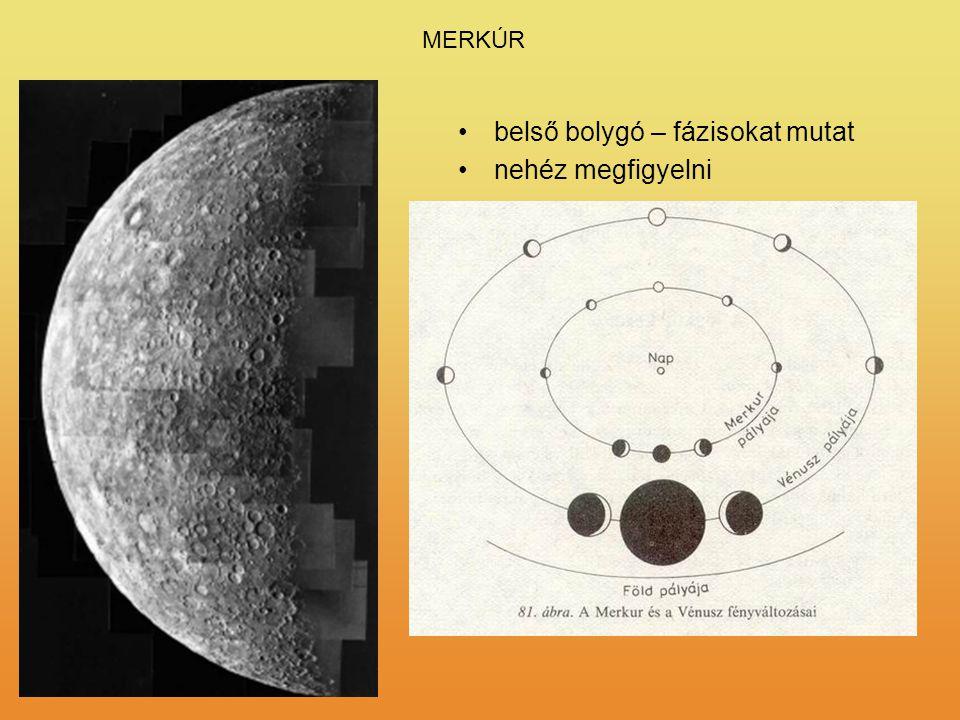 MERKÚR belső bolygó – fázisokat mutat nehéz megfigyelni R = 2440 km M = 3,30·10 23 kg légköre nagyon ritka felszínén kráterek vannak óriási hőmérsékle