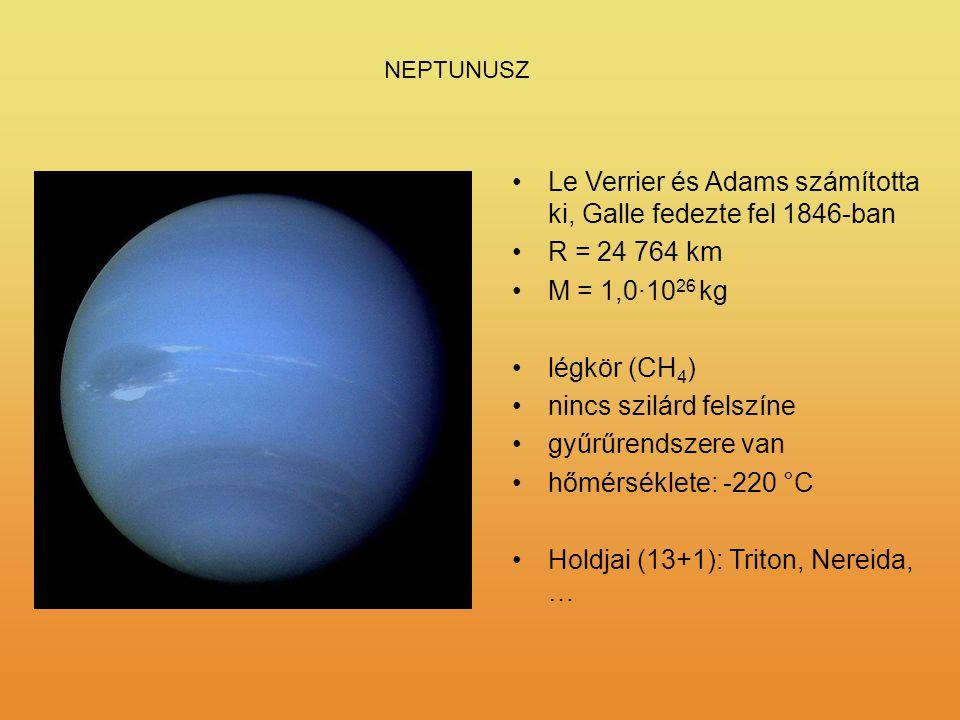 NEPTUNUSZ Le Verrier és Adams számította ki, Galle fedezte fel 1846-ban R = 24 764 km M = 1,0·10 26 kg légkör (CH 4 ) nincs szilárd felszíne gyűrűrend