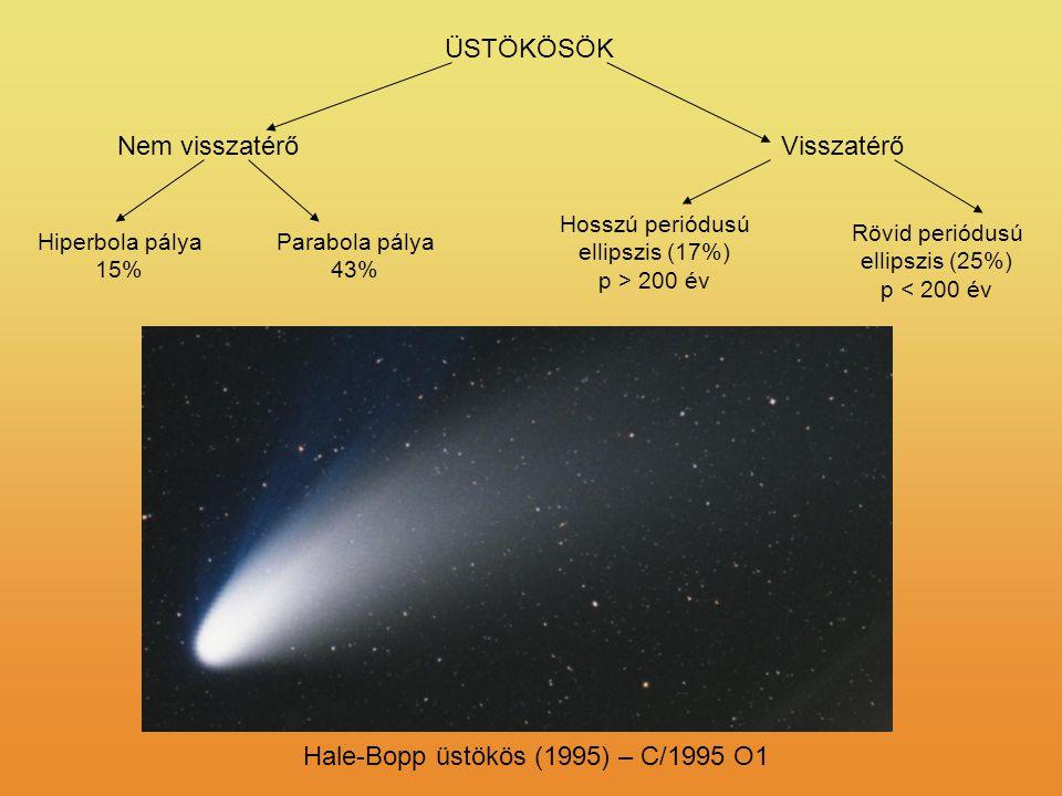 ÜSTÖKÖSÖK Hale-Bopp üstökös (1995) – C/1995 O1 Hosszú periódusú ellipszis (17%) p > 200 év Rövid periódusú ellipszis (25%) p < 200 év VisszatérőNem vi