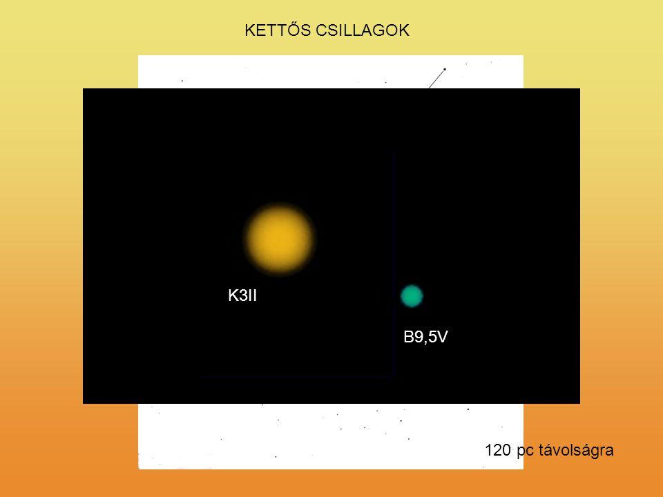 KETTŐS CSILLAGOK K3II B9,5V 120 pc távolságra