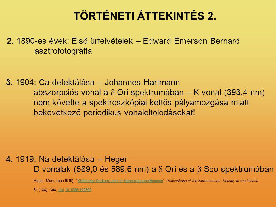 2. 1890-es évek: Első űrfelvételek – Edward Emerson Bernard asztrofotográfia 3. 1904: Ca detektálása – Johannes Hartmann abszorpciós vonal a  Ori spe