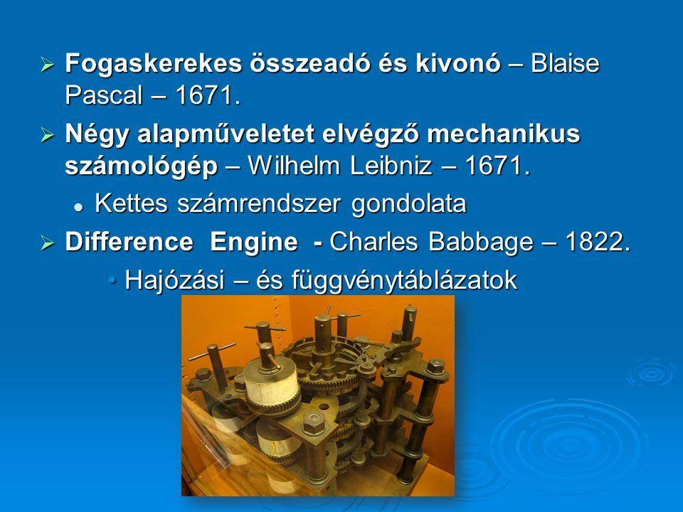  Analytical Engine – nem készült el Programozható lyukkártya vezérelt elvProgramozható lyukkártya vezérelt elv Ada Byron – első program – Bernoulli számokAda Byron – első program – Bernoulli számok  Lyukkártya vezérelt szövőszék – Jacquard programozható programozható
