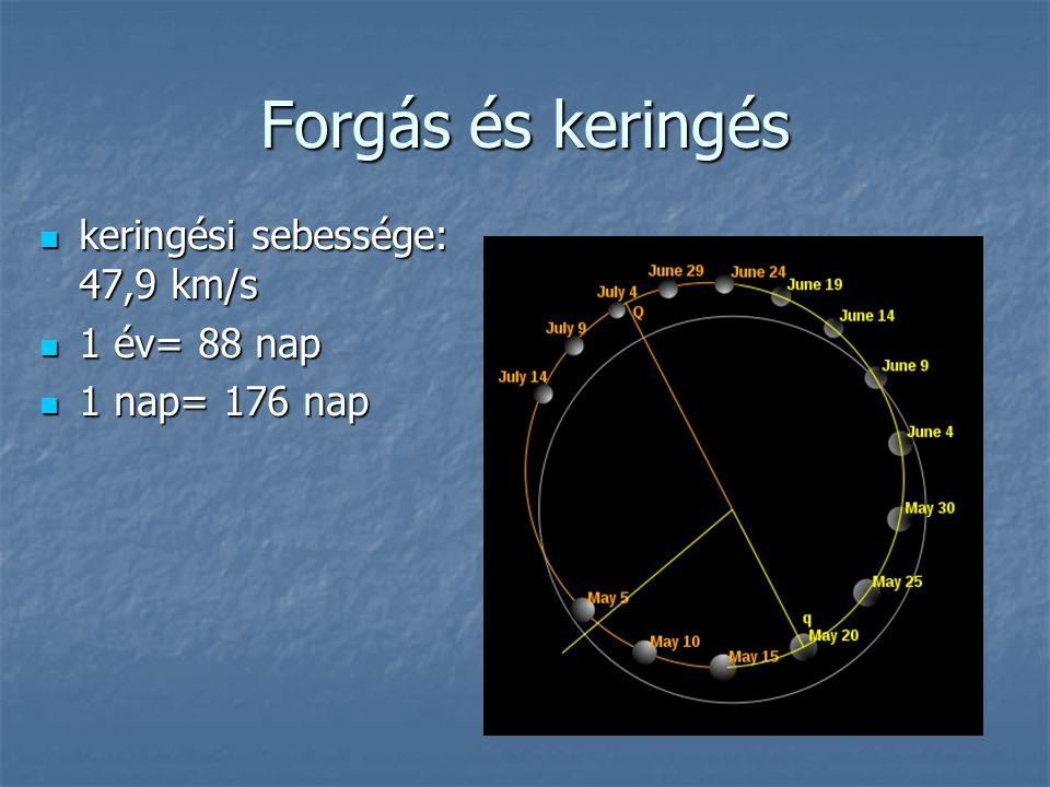 Forgás és keringés keringési sebessége: 47,9 km/s keringési sebessége: 47,9 km/s 1 év= 88 nap 1 év= 88 nap 1 nap= 176 nap 1 nap= 176 nap