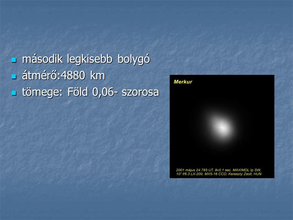 második legkisebb bolygó második legkisebb bolygó átmérő:4880 km átmérő:4880 km tömege: Föld 0,06- szorosa tömege: Föld 0,06- szorosa
