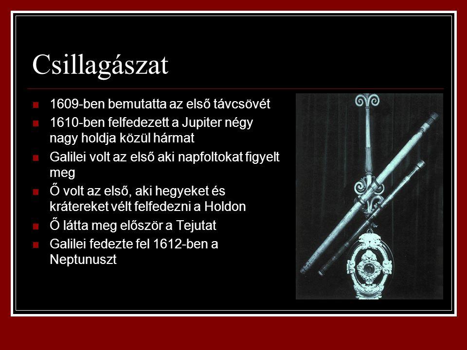 Csillagászat 1609-ben bemutatta az első távcsövét 1610-ben felfedezett a Jupiter négy nagy holdja közül hármat Galilei volt az első aki napfoltokat fi