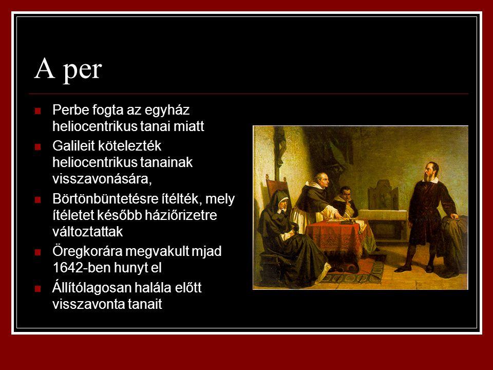 A per Perbe fogta az egyház heliocentrikus tanai miatt Galileit kötelezték heliocentrikus tanainak visszavonására, Börtönbüntetésre ítélték, mely ítél