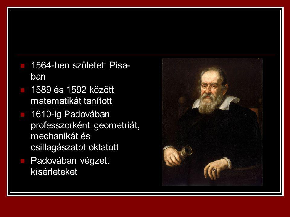 1564-ben született Pisa- ban 1589 és 1592 között matematikát tanított 1610-ig Padovában professzorként geometriát, mechanikát és csillagászatot oktato