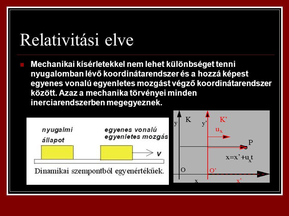Relativitási elve Mechanikai kísérletekkel nem lehet különbséget tenni nyugalomban lévő koordinátarendszer és a hozzá képest egyenes vonalú egyenletes