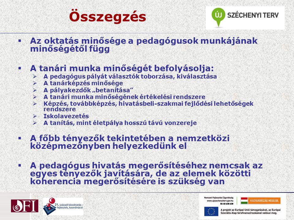 Összegzés  Az oktatás minősége a pedagógusok munkájának minőségétől függ  A tanári munka minőségét befolyásolja:  A pedagógus pályát választók tobo