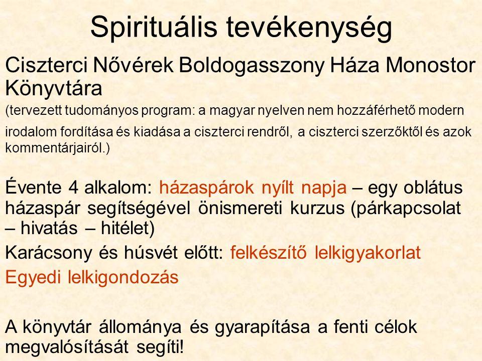 Spirituális tevékenység Ciszterci Nővérek Boldogasszony Háza Monostor Könyvtára (tervezett tudományos program: a magyar nyelven nem hozzáférhető moder