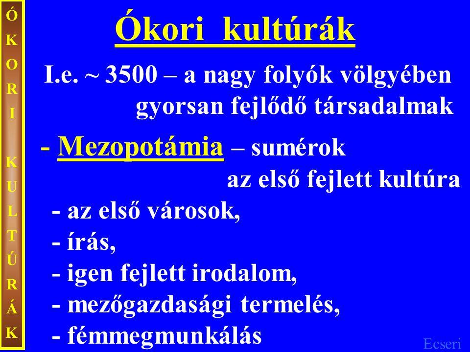 Ecseri ÓKORIKULTÚRÁKÓKORIKULTÚRÁK Vízmerítő szerkezet falfestmény (i.e. ~ 1250)