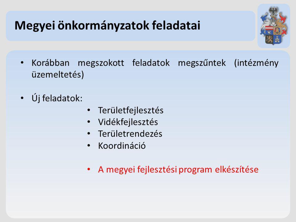 Megyei önkormányzatok feladatai Korábban megszokott feladatok megszűntek (intézmény üzemeltetés) Új feladatok: Területfejlesztés Vidékfejlesztés Területrendezés Koordináció A megyei fejlesztési program elkészítése