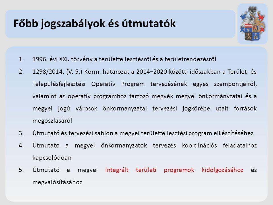 Főbb jogszabályok és útmutatók 1.1996.évi XXI.