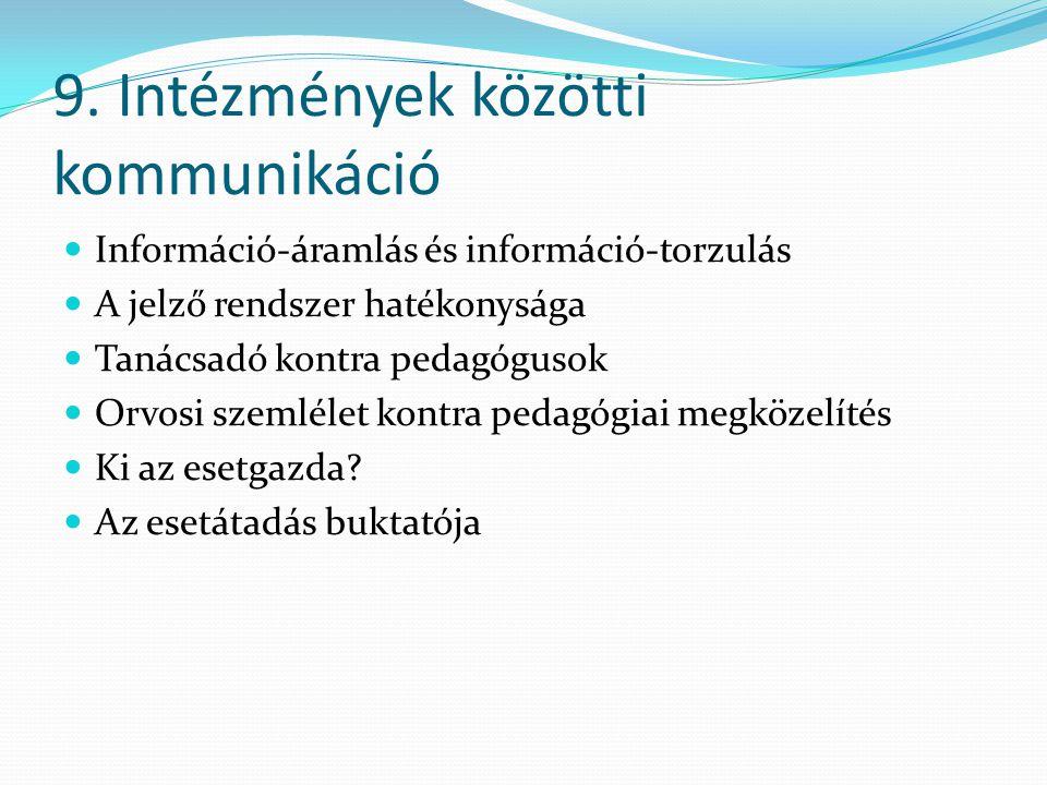 9. Intézmények közötti kommunikáció Információ-áramlás és információ-torzulás A jelző rendszer hatékonysága Tanácsadó kontra pedagógusok Orvosi szemlé