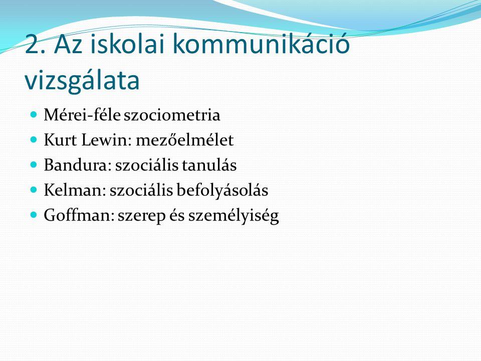 2. Az iskolai kommunikáció vizsgálata Mérei-féle szociometria Kurt Lewin: mezőelmélet Bandura: szociális tanulás Kelman: szociális befolyásolás Goffma