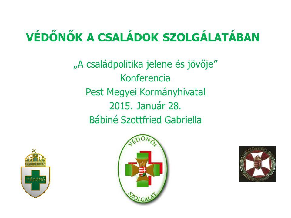 """VÉDŐNŐK A CSALÁDOK SZOLGÁLATÁBAN """"A családpolitika jelene és jövője Konferencia Pest Megyei Kormányhivatal 2015."""