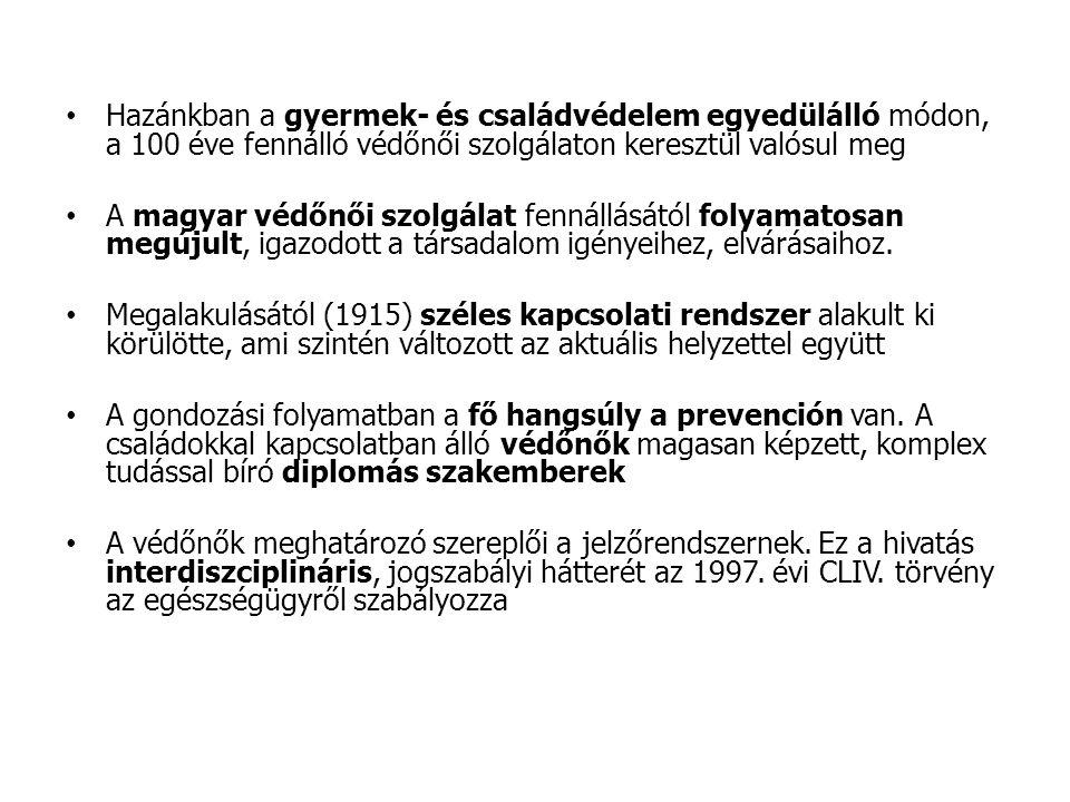 Hazánkban a gyermek- és családvédelem egyedülálló módon, a 100 éve fennálló védőnői szolgálaton keresztül valósul meg A magyar védőnői szolgálat fenná