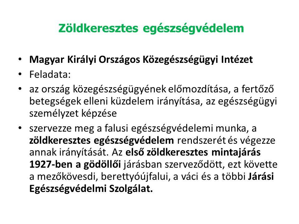 Zöldkeresztes egészségvédelem Magyar Királyi Országos Közegészségügyi Intézet Feladata: az ország közegészségügyének előmozdítása, a fertőző betegségek elleni küzdelem irányítása, az egészségügyi személyzet képzése szervezze meg a falusi egészségvédelemi munka, a zöldkeresztes egészségvédelem rendszerét és végezze annak irányítását.