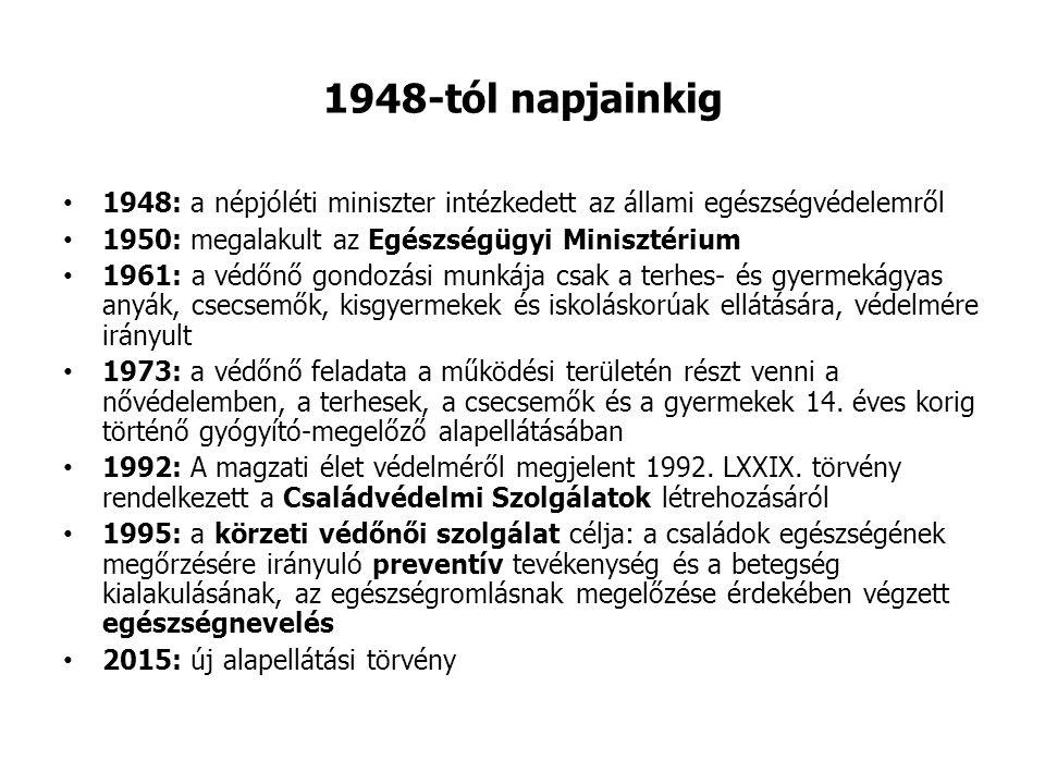 1948-tól napjainkig 1948: a népjóléti miniszter intézkedett az állami egészségvédelemről 1950: megalakult az Egészségügyi Minisztérium 1961: a védőnő