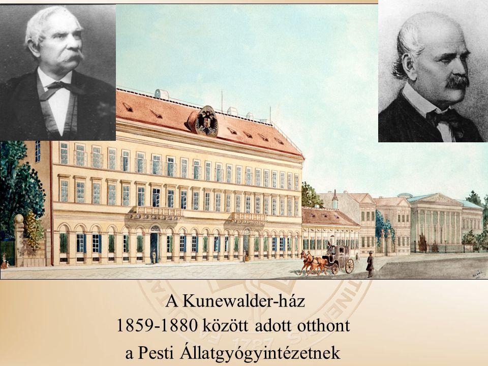 1859-1880 között adott otthont a Pesti Állatgyógyintézetnek A Kunewalder-ház