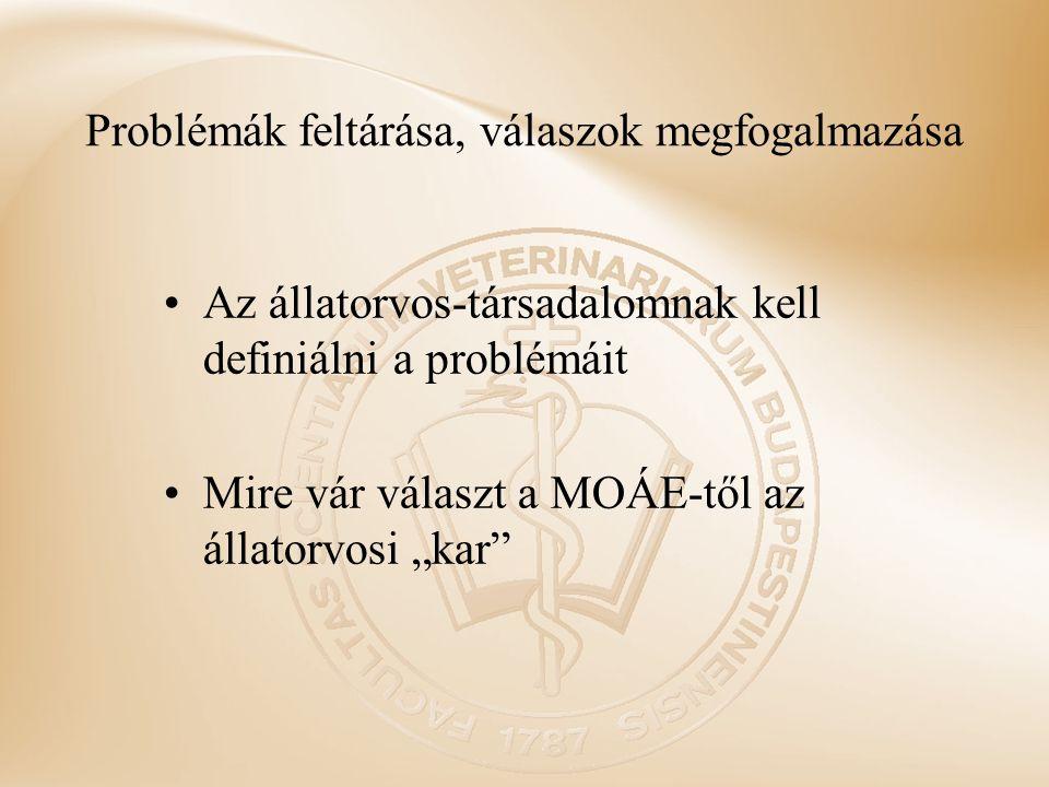 """Problémák feltárása, válaszok megfogalmazása Az állatorvos-társadalomnak kell definiálni a problémáit Mire vár választ a MOÁE-től az állatorvosi """"kar"""""""