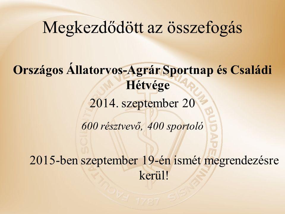 Megkezdődött az összefogás Országos Állatorvos-Agrár Sportnap és Családi Hétvége 2014. szeptember 20 600 résztvevő, 400 sportoló 2015-ben szeptember 1