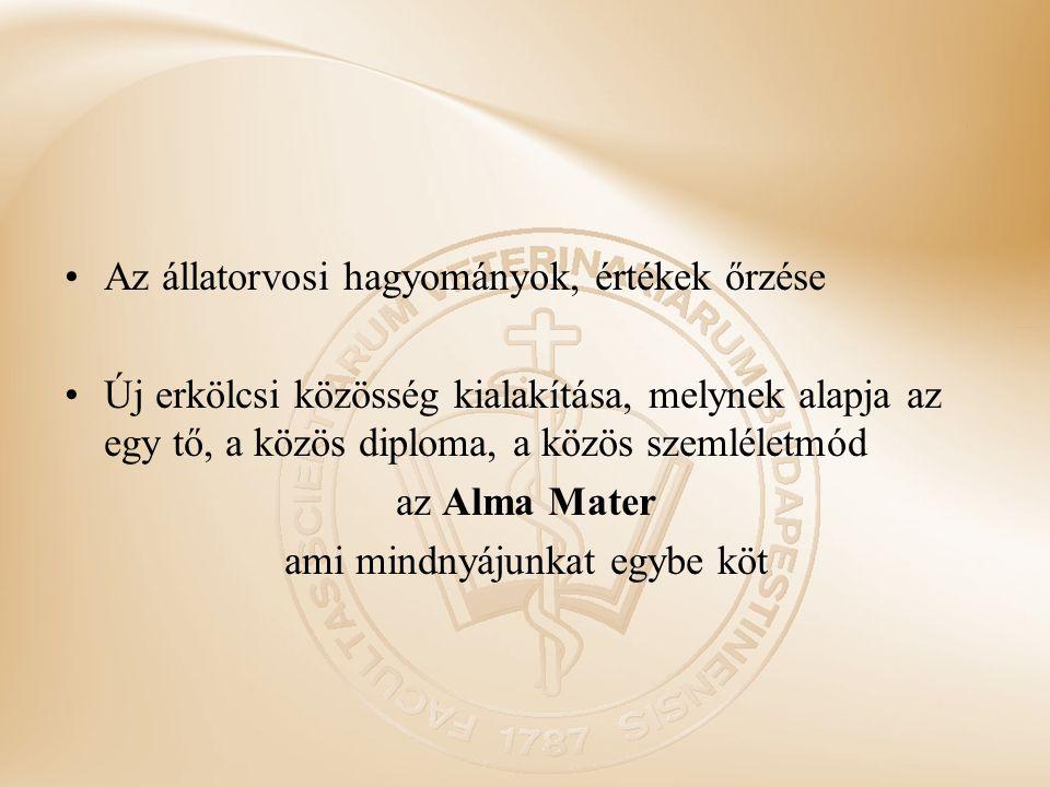 Az állatorvosi hagyományok, értékek őrzése Új erkölcsi közösség kialakítása, melynek alapja az egy tő, a közös diploma, a közös szemléletmód az Alma M