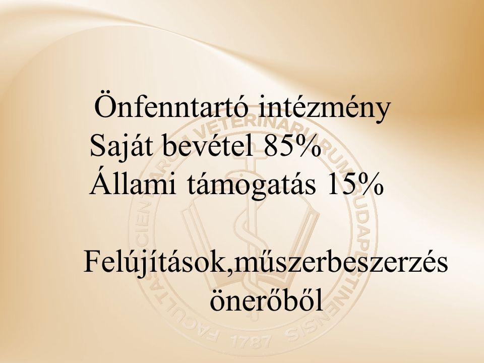 Önfenntartó intézmény Saját bevétel 85% Állami támogatás 15% Felújítások,műszerbeszerzés önerőből